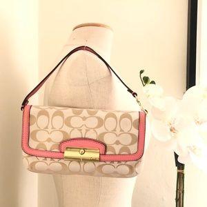 Coach Signature Pink & tan canvas wallet clutch